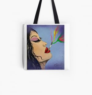 Pop Art Smoke acrylic hand painted canvas  All Over Print Tote Bag RB2805 product Offical Pop Smoke Merch