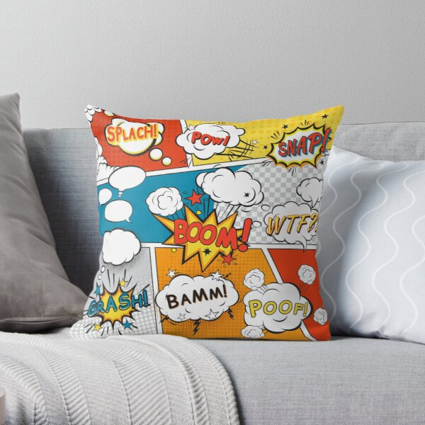 Comic Pop Art pattern in blue, red and yellow Throw Pillow RB2805 product Offical Pop Smoke Merch